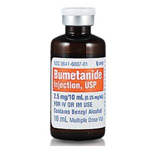 Bumetanide Inj MDV 10mL 0.25mg 10/Bx - West-Ward Pharm Injectables — 00641600710 Image