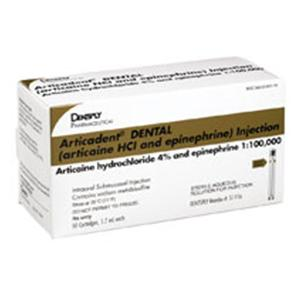 Articadent Articaine Hydrochloride 4% Epinephrine 1:100,000 50/Bx, 20 BX/CA - Dentsply Pharmaceutical — 51116 Image