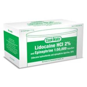 Cook Waite Lidocaine Hydrochloride 2% Epinephrine 1:50,000 50/Bx, 20 BX/CA - Carestream Health Inc — 1628262 Image